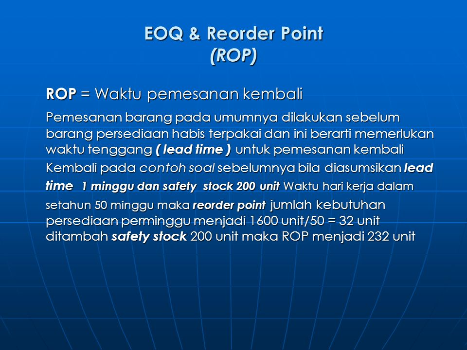 EOQ & Reorder Point (ROP)