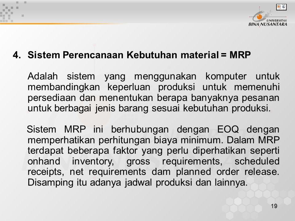 Sistem Perencanaan Kebutuhan material = MRP