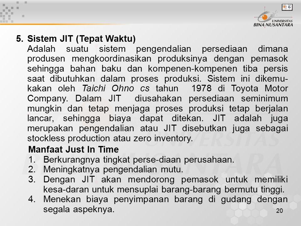 5. Sistem JIT (Tepat Waktu)