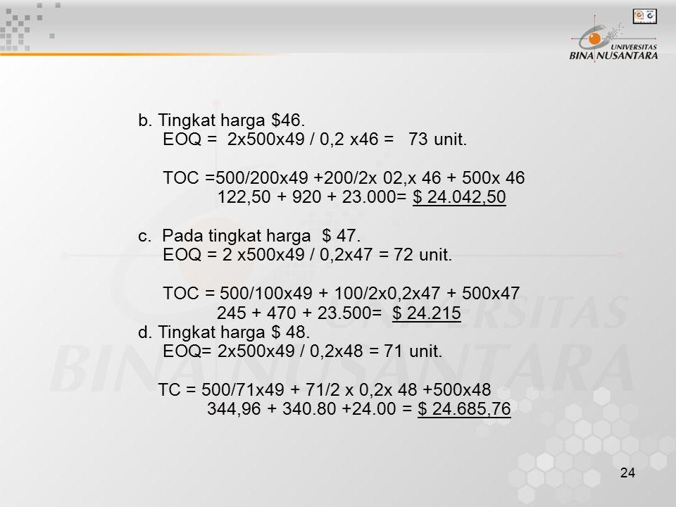 b. Tingkat harga $46. EOQ = 2x500x49 / 0,2 x46 = 73 unit. TOC =500/200x49 +200/2x 02,x 46 + 500x 46.
