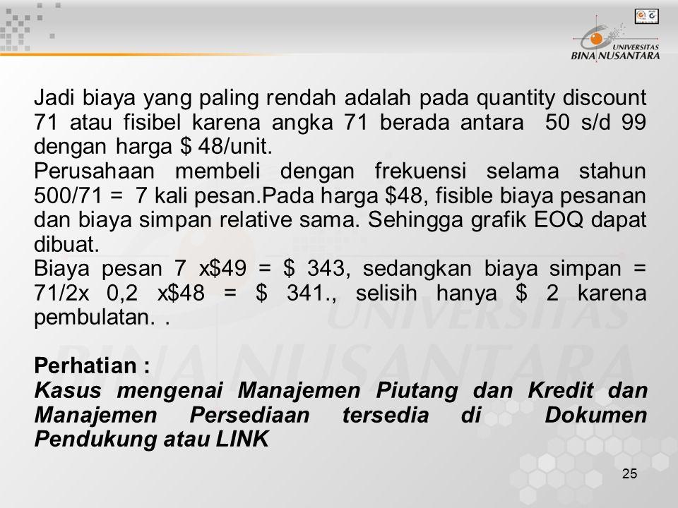 Jadi biaya yang paling rendah adalah pada quantity discount 71 atau fisibel karena angka 71 berada antara 50 s/d 99 dengan harga $ 48/unit.
