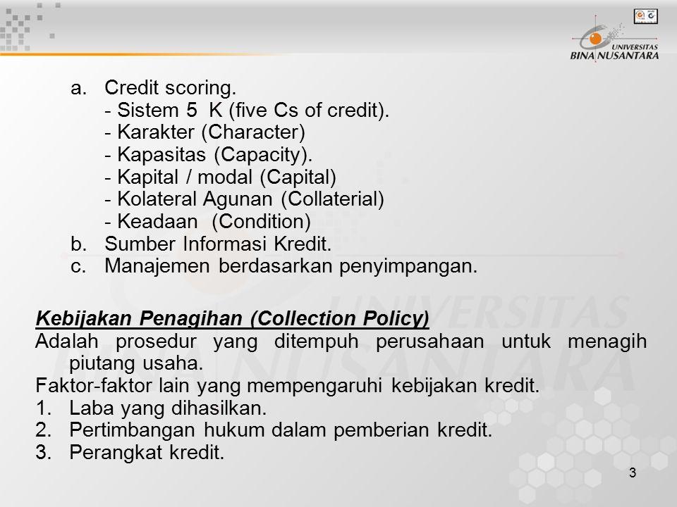 a. Credit scoring. - Sistem 5 K (five Cs of credit). - Karakter (Character) - Kapasitas (Capacity).