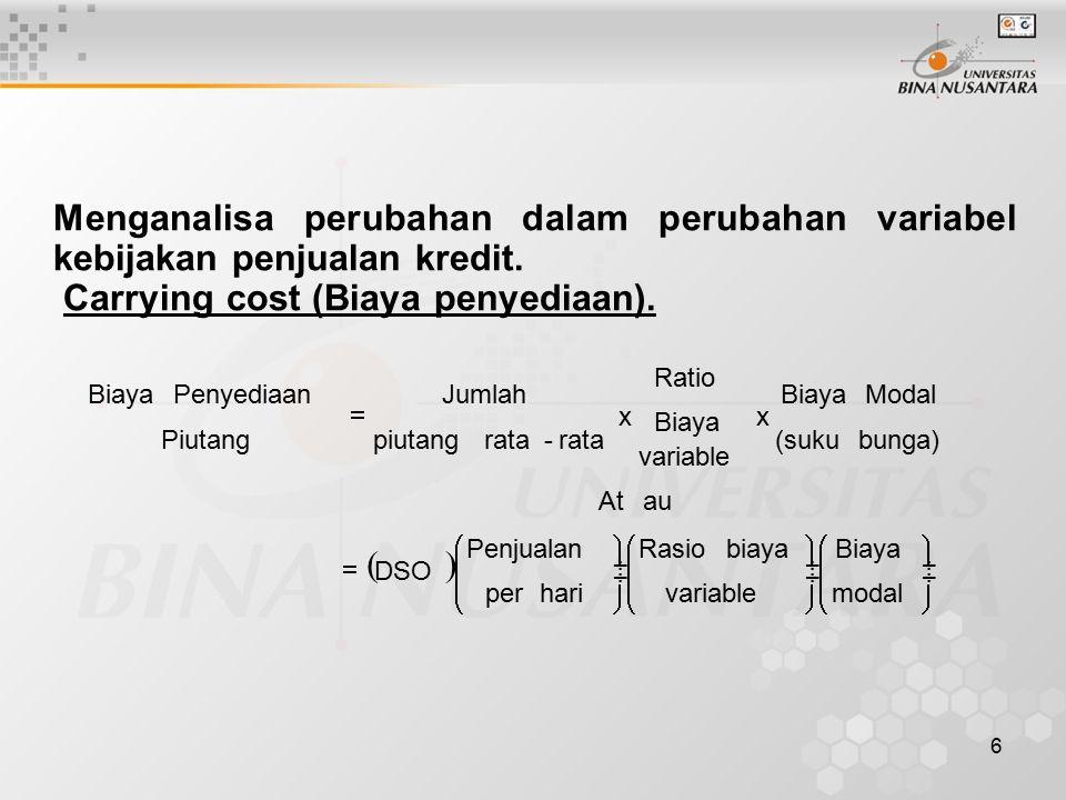 Carrying cost (Biaya penyediaan).