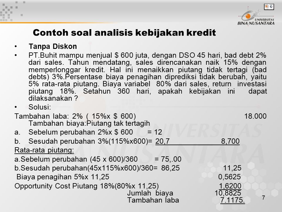 Contoh soal analisis kebijakan kredit