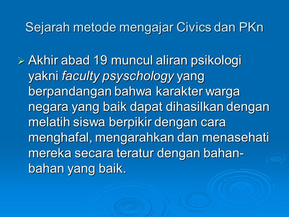 Sejarah metode mengajar Civics dan PKn