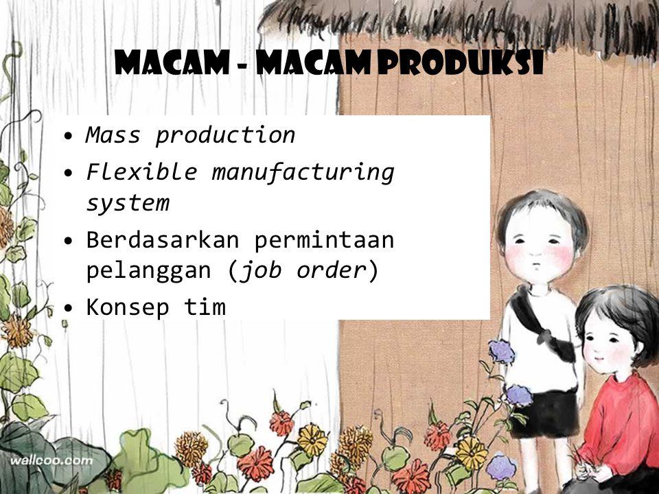 Macam - macam produksi Mass production Flexible manufacturing system