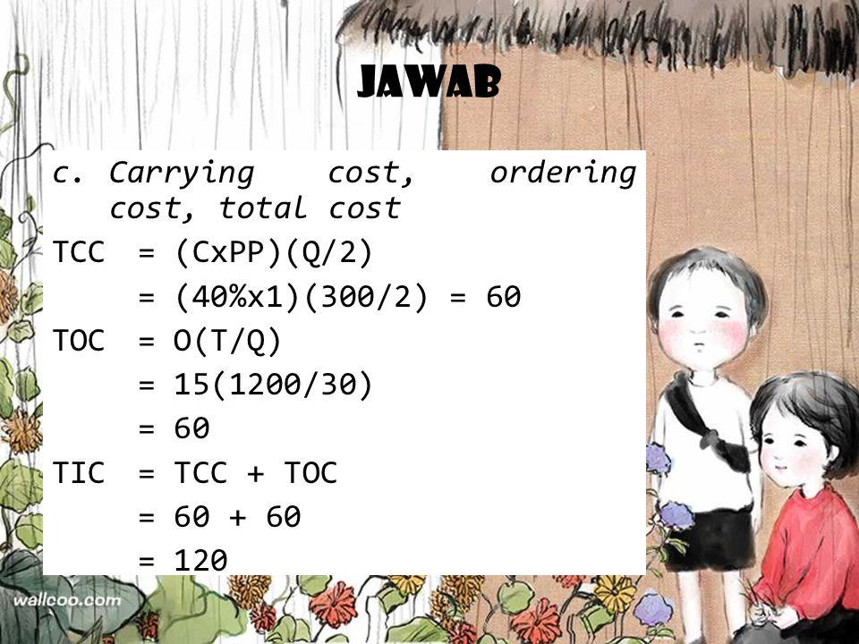 Jawab Carrying cost, ordering cost, total cost TCC = (CxPP)(Q/2)