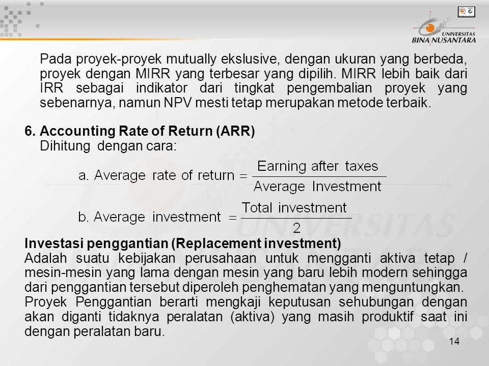 Pada proyek-proyek mutually ekslusive, dengan ukuran yang berbeda, proyek dengan MIRR yang terbesar yang dipilih. MIRR lebih baik dari IRR sebagai indikator dari tingkat pengembalian proyek yang sebenarnya, namun NPV mesti tetap merupakan metode terbaik.