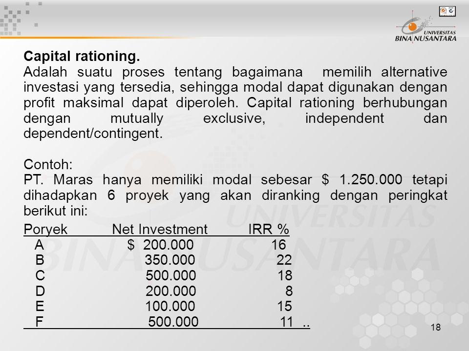 Capital rationing.