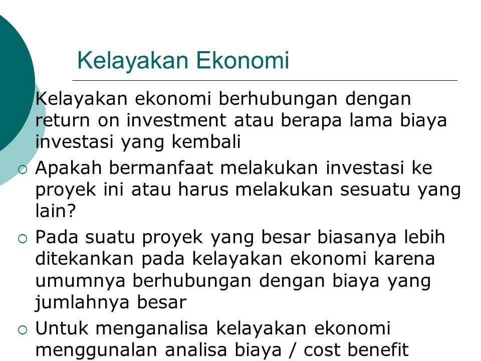 Kelayakan Ekonomi Kelayakan ekonomi berhubungan dengan return on investment atau berapa lama biaya investasi yang kembali.