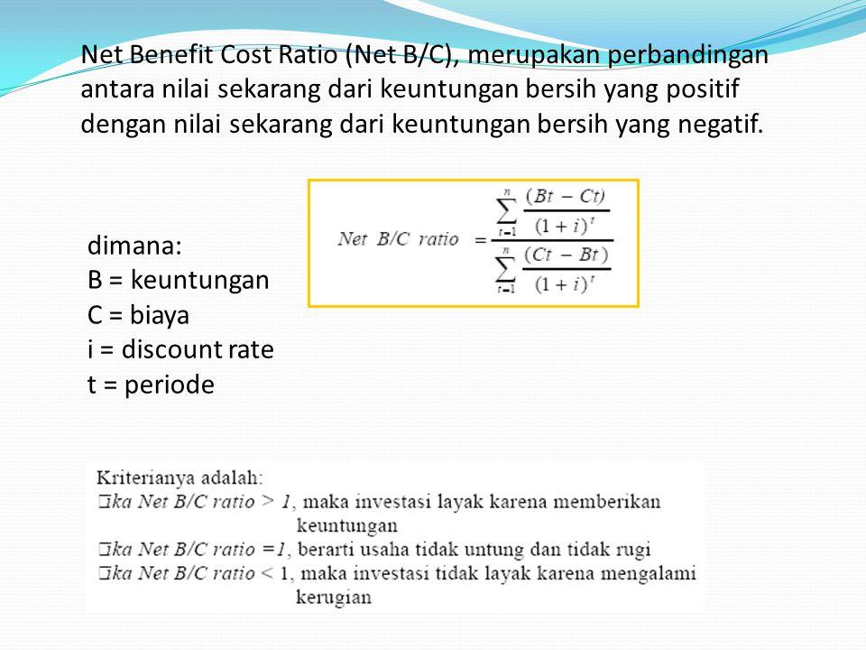 Net Benefit Cost Ratio (Net B/C), merupakan perbandingan antara nilai sekarang dari keuntungan bersih yang positif dengan nilai sekarang dari keuntungan bersih yang negatif.