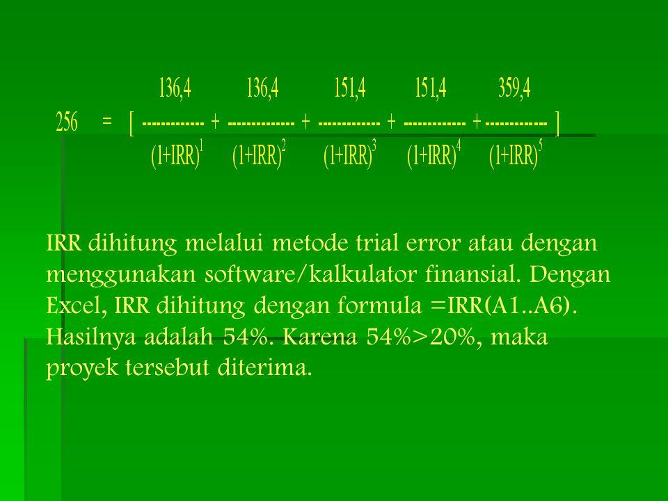 IRR dihitung melalui metode trial error atau dengan menggunakan software/kalkulator finansial.