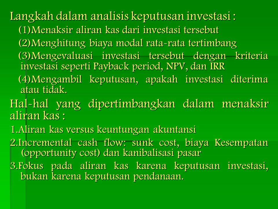 Langkah dalam analisis keputusan investasi :