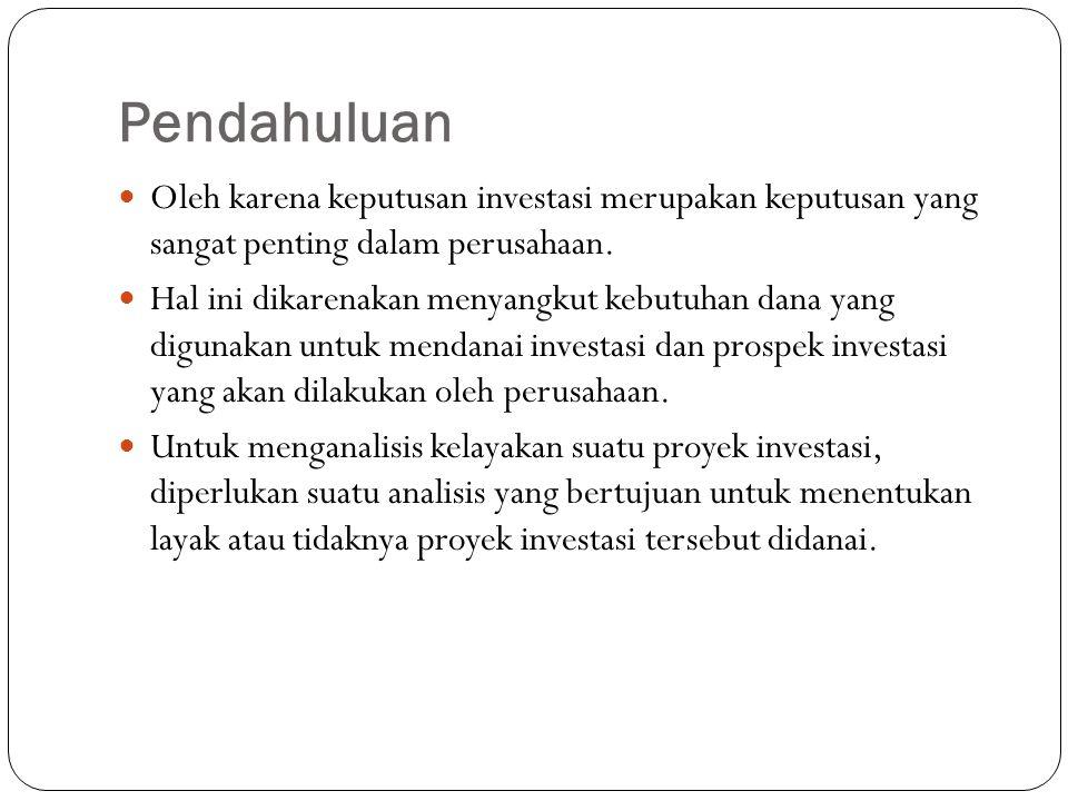 Pendahuluan Oleh karena keputusan investasi merupakan keputusan yang sangat penting dalam perusahaan.