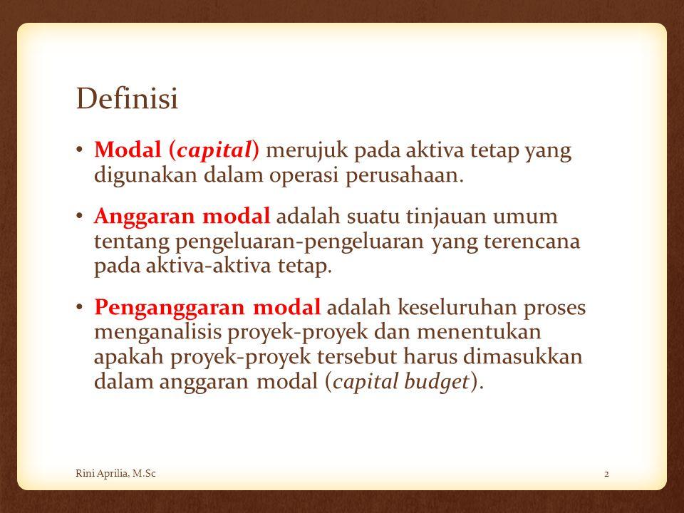 Definisi Modal (capital) merujuk pada aktiva tetap yang digunakan dalam operasi perusahaan.