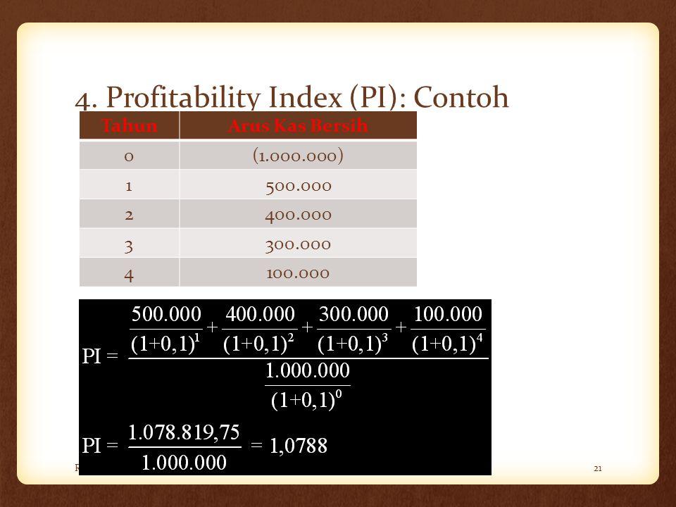 4. Profitability Index (PI): Contoh