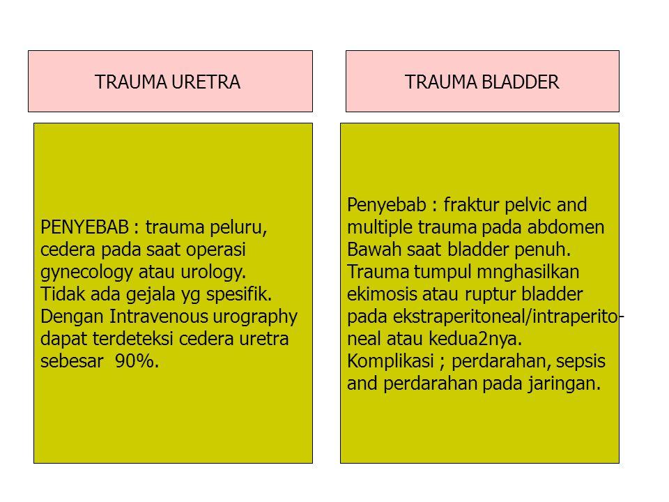 TRAUMA URETRA TRAUMA BLADDER. PENYEBAB : trauma peluru, cedera pada saat operasi. gynecology atau urology.