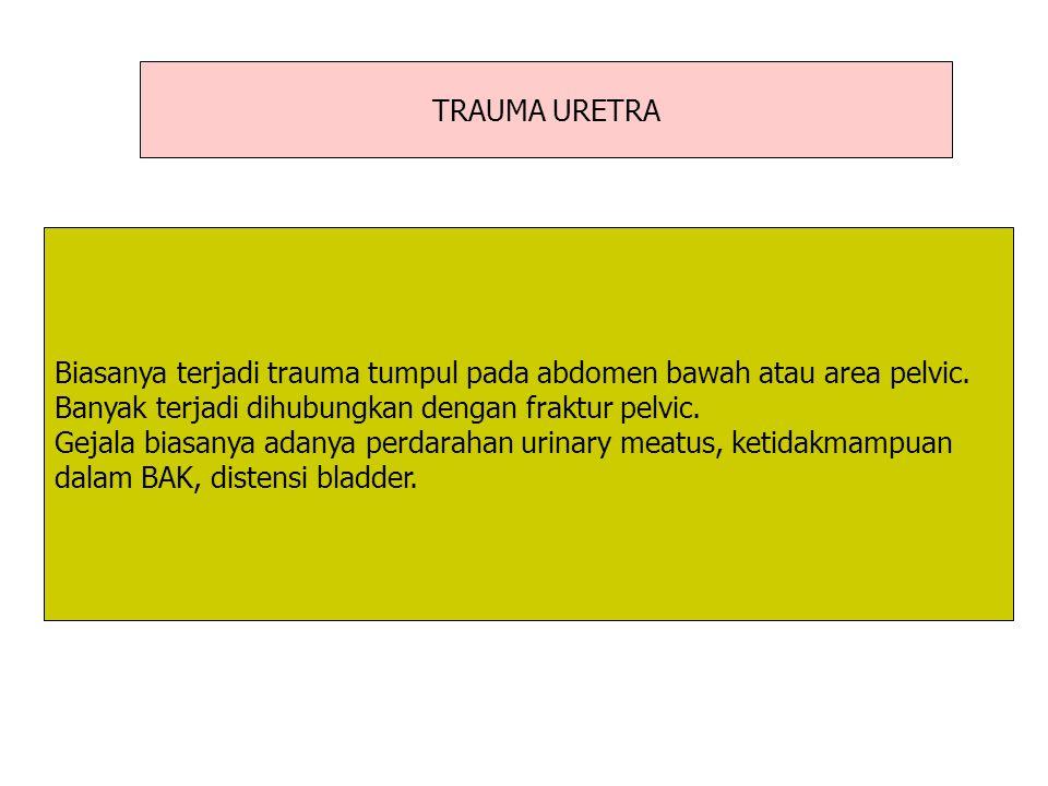TRAUMA URETRA Biasanya terjadi trauma tumpul pada abdomen bawah atau area pelvic. Banyak terjadi dihubungkan dengan fraktur pelvic.