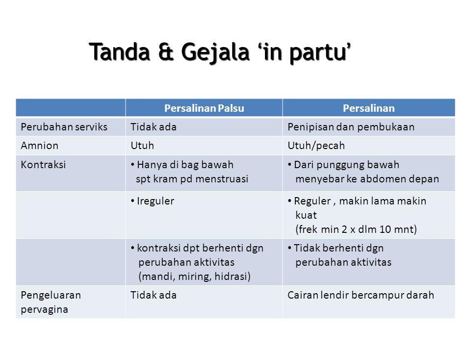 Tanda & Gejala 'in partu'