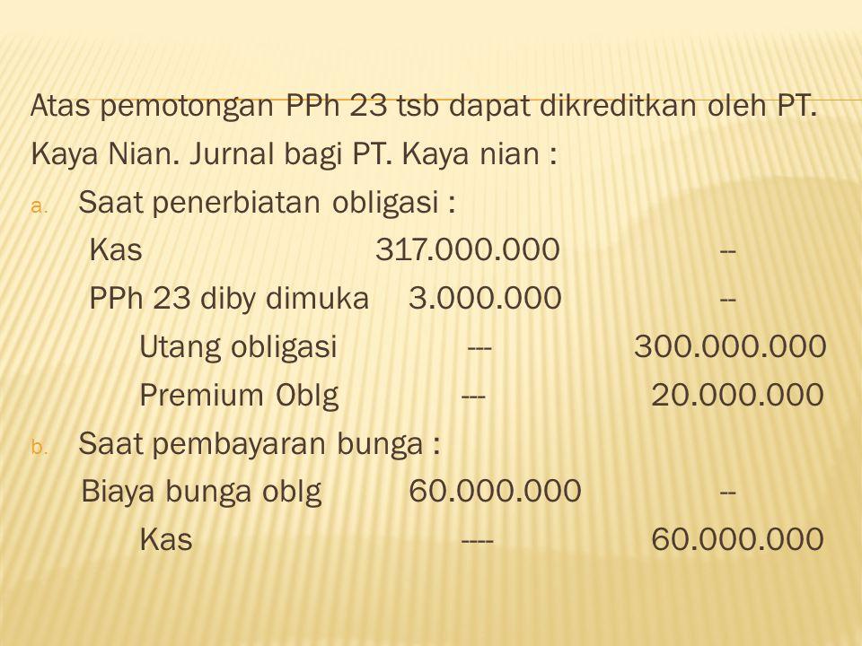 Atas pemotongan PPh 23 tsb dapat dikreditkan oleh PT.