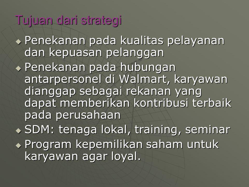 Tujuan dari strategi Penekanan pada kualitas pelayanan dan kepuasan pelanggan.