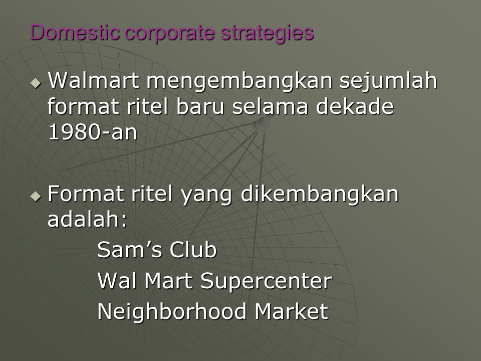 Domestic corporate strategies