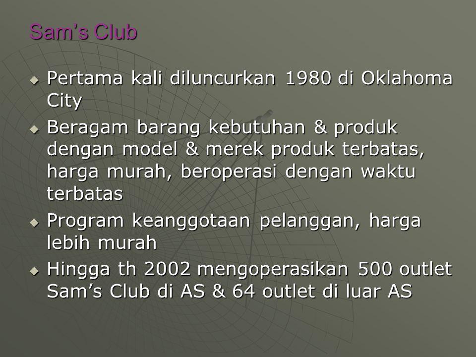 Sam's Club Pertama kali diluncurkan 1980 di Oklahoma City