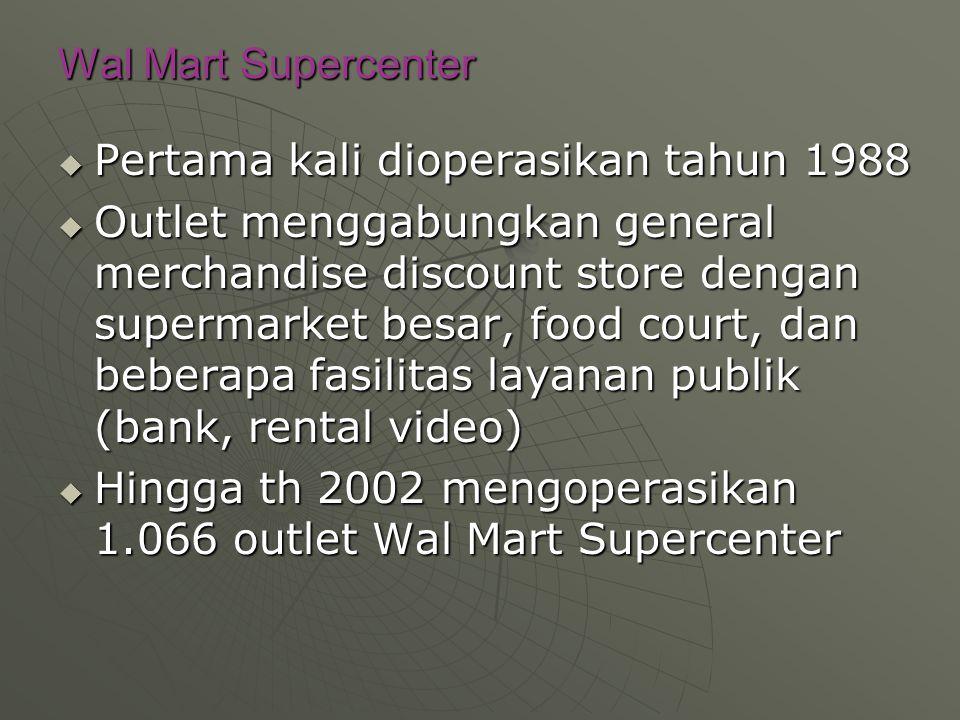 Wal Mart Supercenter Pertama kali dioperasikan tahun 1988.