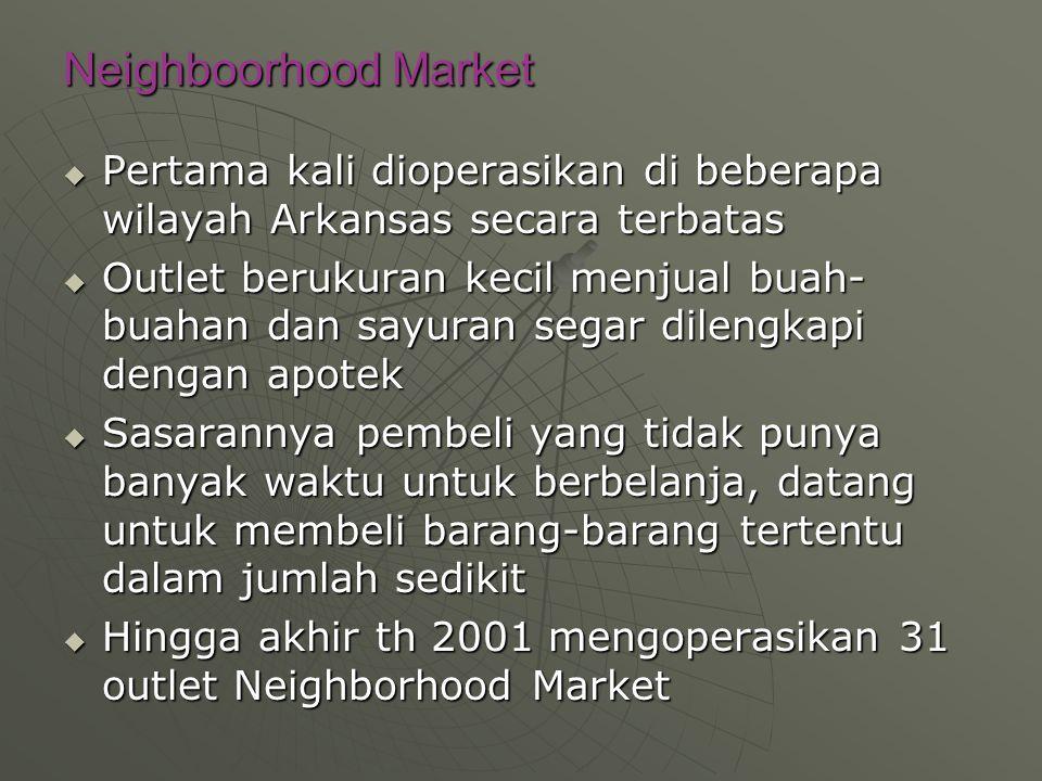 Neighboorhood Market Pertama kali dioperasikan di beberapa wilayah Arkansas secara terbatas.