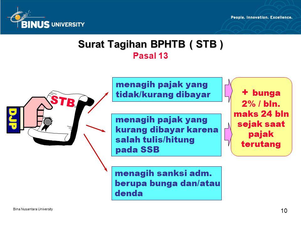 Surat Tagihan BPHTB ( STB ) Pasal 13