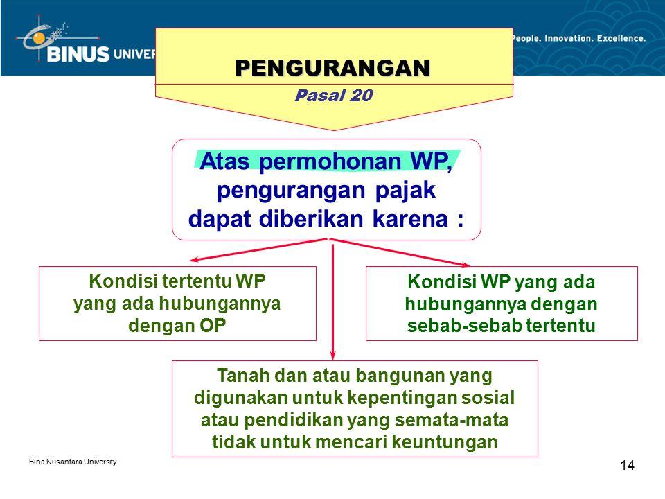 Atas permohonan WP, pengurangan pajak dapat diberikan karena :