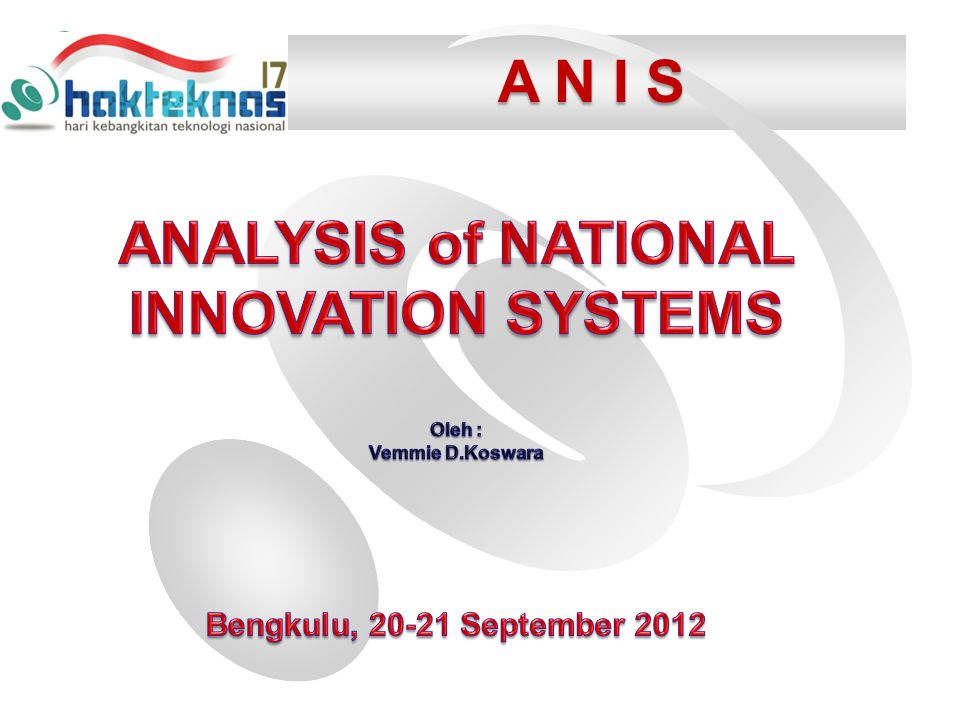 ANALYSIS of NATIONAL INNOVATION SYSTEMS
