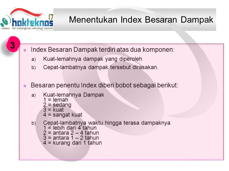 Menentukan Index Besaran Dampak