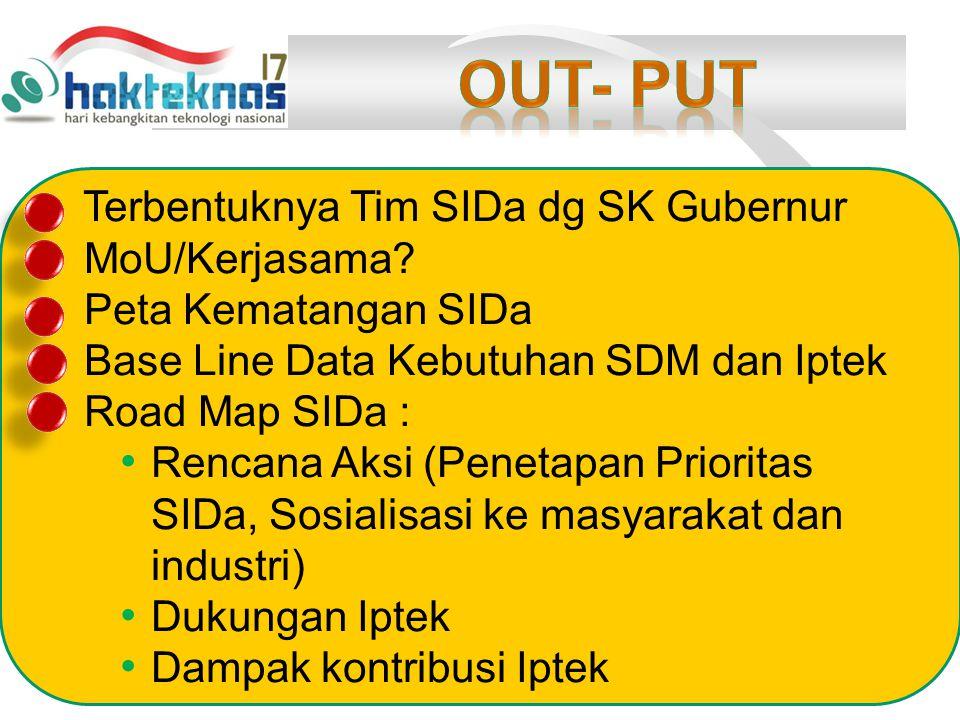 OUT- PUT Terbentuknya Tim SIDa dg SK Gubernur MoU/Kerjasama