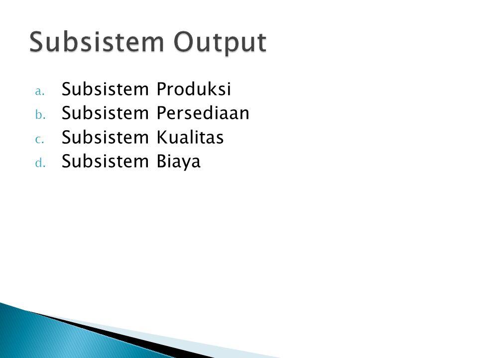 Subsistem Output Subsistem Produksi Subsistem Persediaan