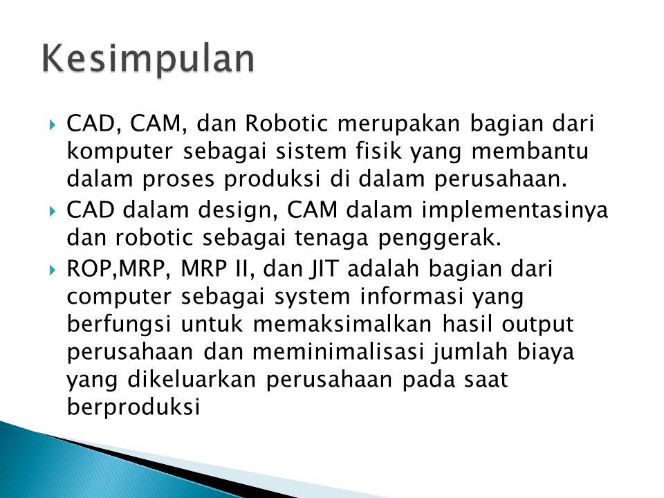 Kesimpulan CAD, CAM, dan Robotic merupakan bagian dari komputer sebagai sistem fisik yang membantu dalam proses produksi di dalam perusahaan.