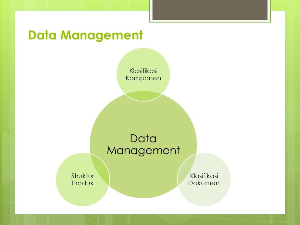 Data Management Data Management Klasifikasi Komponen