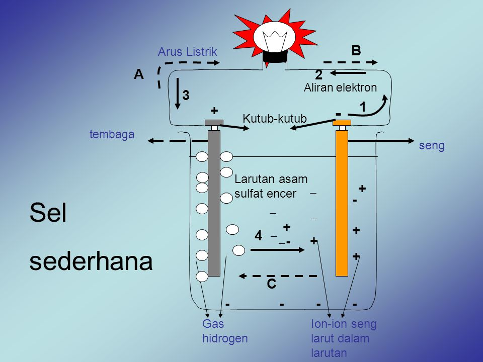 - Sel sederhana B A 2 3 1 + + - + + 4 - + + C - - - - Arus Listrik