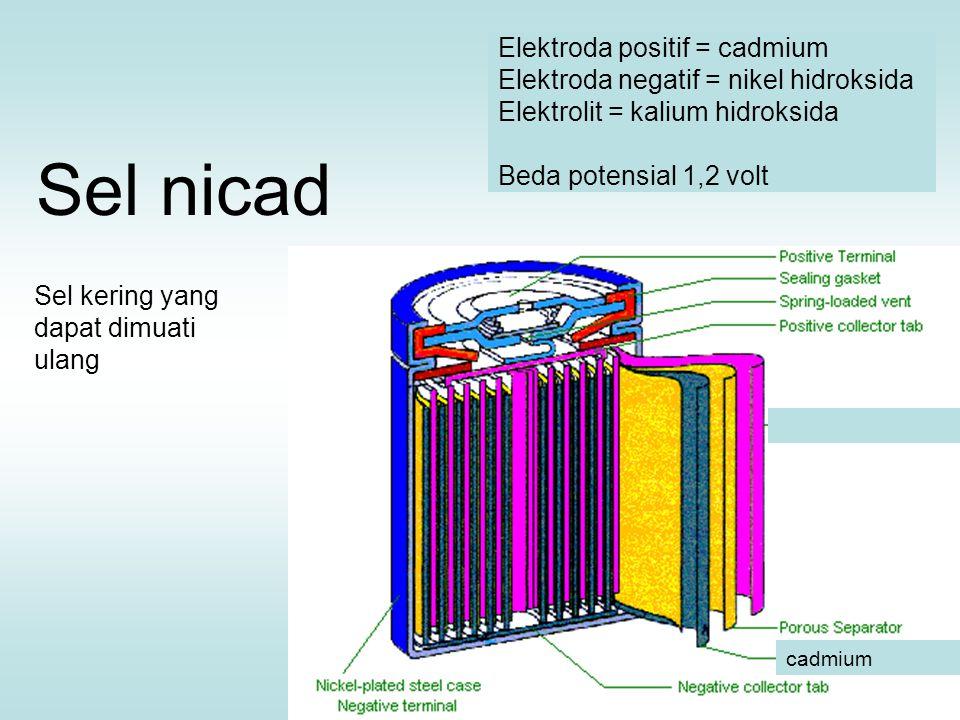 Sel nicad Elektroda positif = cadmium