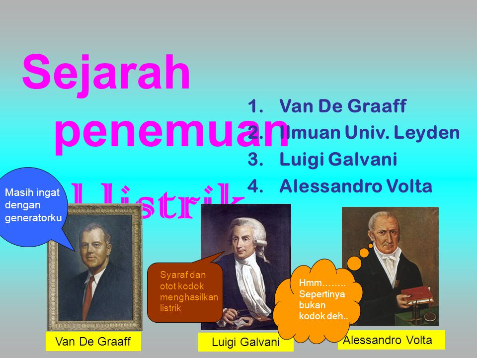 Van De Graaff Ilmuan Univ. Leyden Luigi Galvani Alessandro Volta