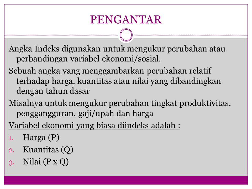 PENGANTAR Angka Indeks digunakan untuk mengukur perubahan atau perbandingan variabel ekonomi/sosial.