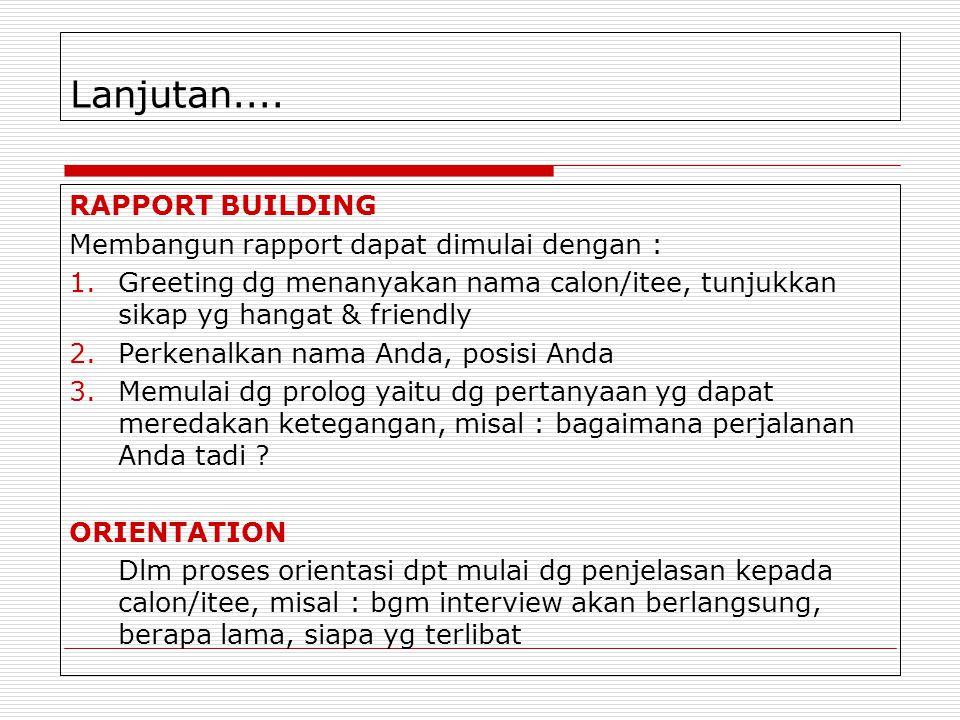 Lanjutan.... RAPPORT BUILDING Membangun rapport dapat dimulai dengan :