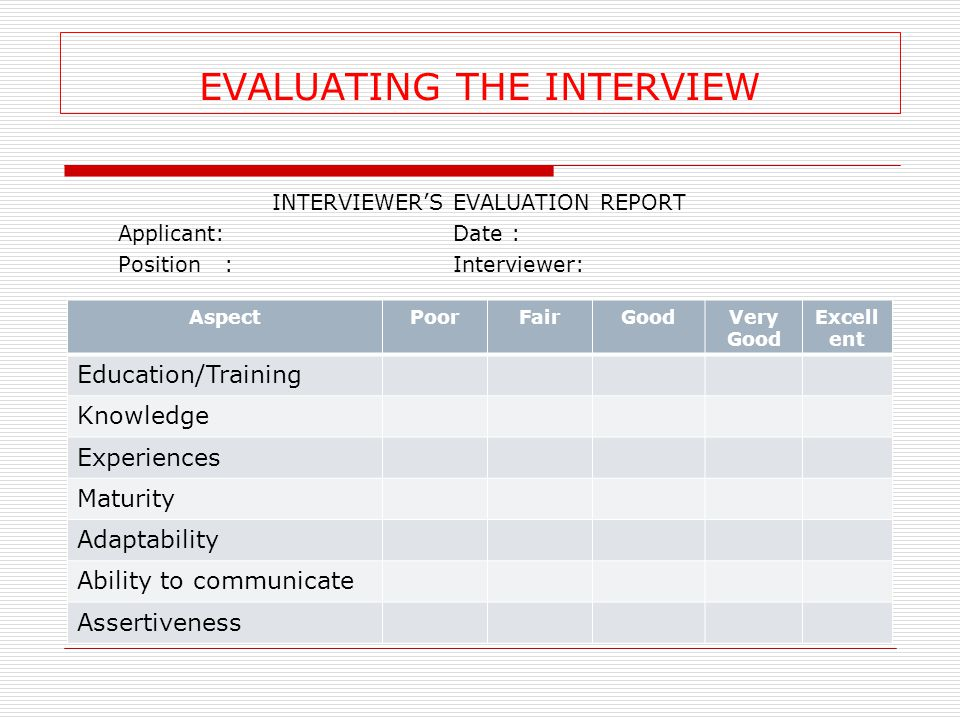 EVALUATING THE INTERVIEW