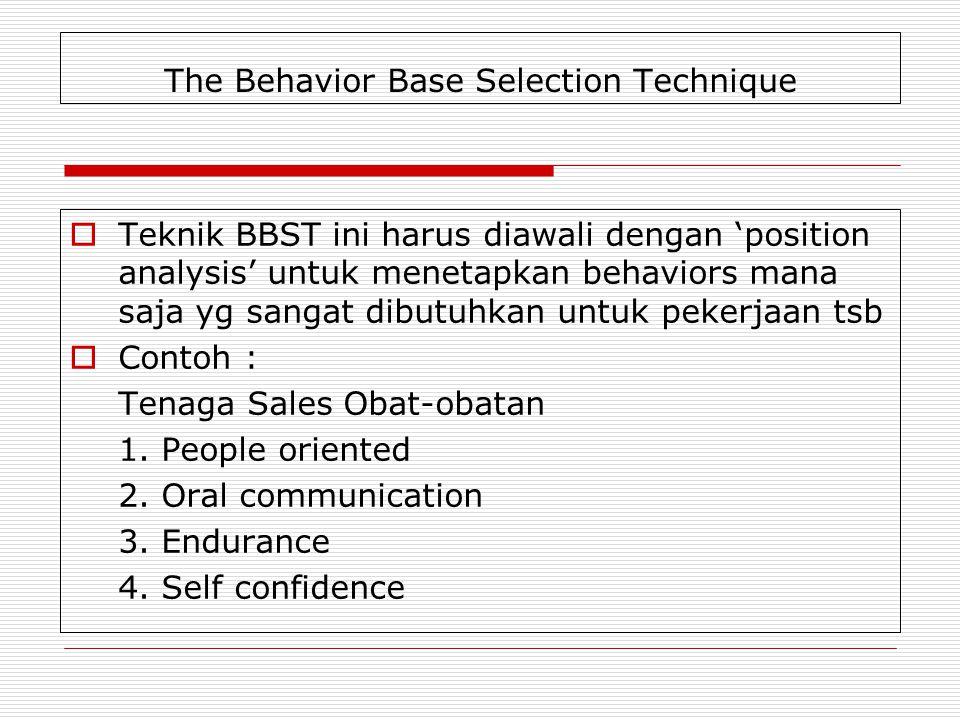 The Behavior Base Selection Technique