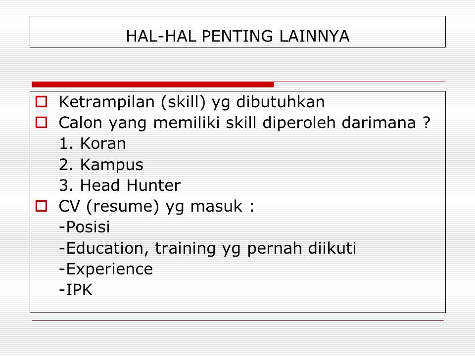 HAL-HAL PENTING LAINNYA