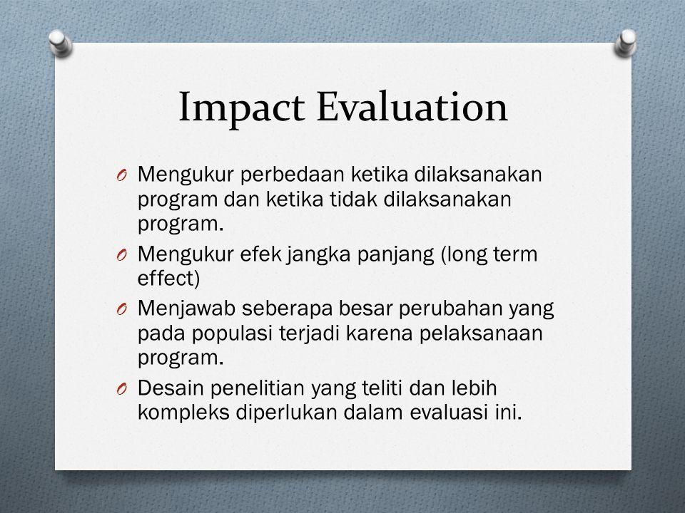 Impact Evaluation Mengukur perbedaan ketika dilaksanakan program dan ketika tidak dilaksanakan program.