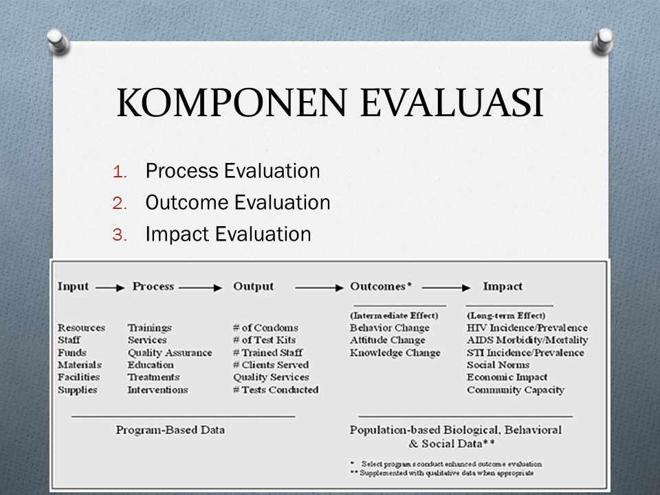 KOMPONEN EVALUASI Process Evaluation Outcome Evaluation