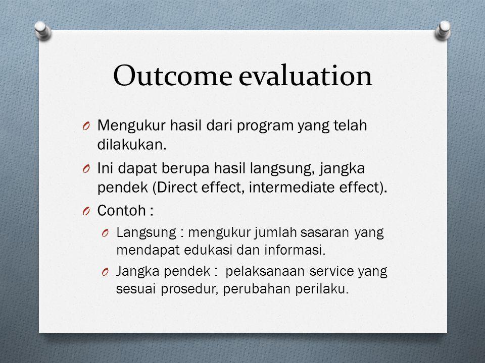 Outcome evaluation Mengukur hasil dari program yang telah dilakukan.