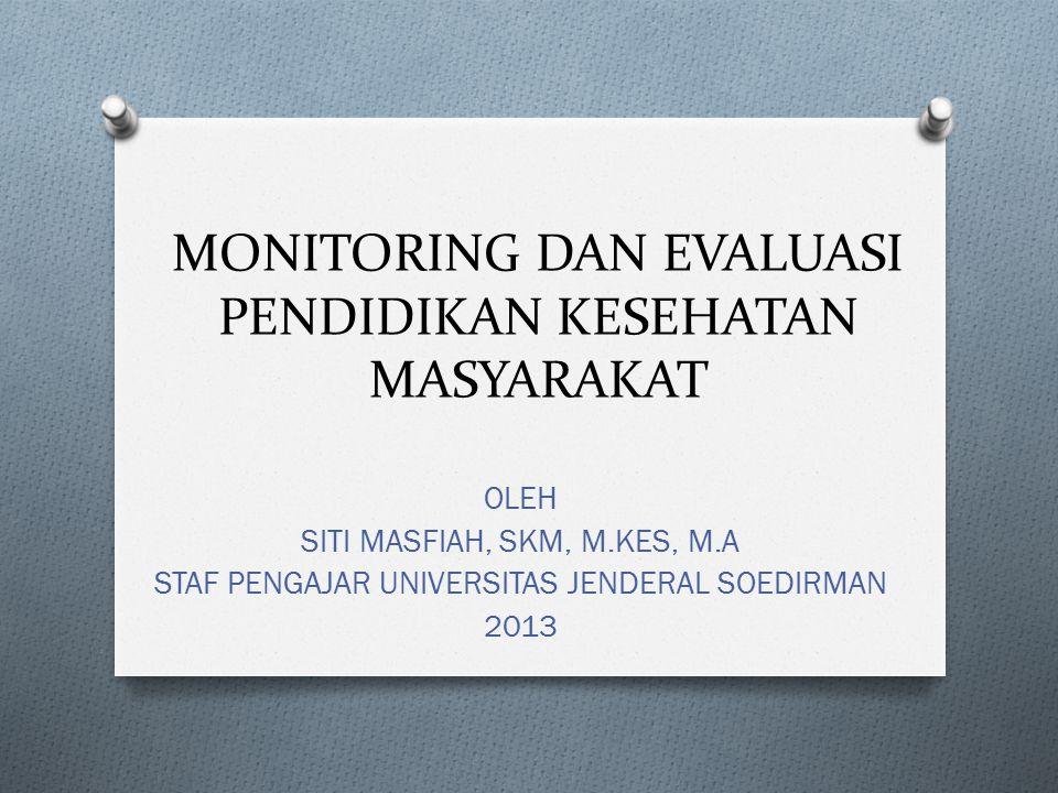 MONITORING DAN EVALUASI PENDIDIKAN KESEHATAN MASYARAKAT