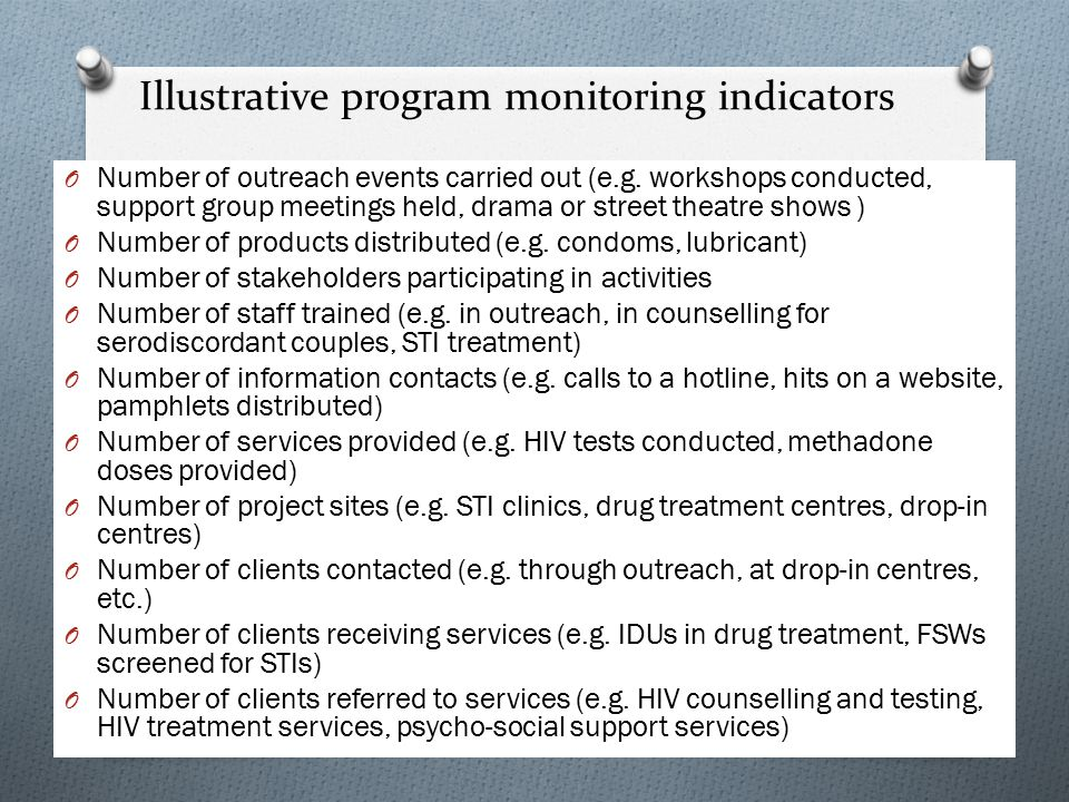 Illustrative program monitoring indicators